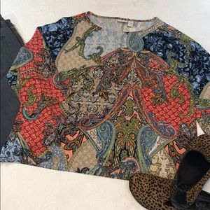 Chico's 3/4 Dolman Sleeve Pullover Top-Multi Color